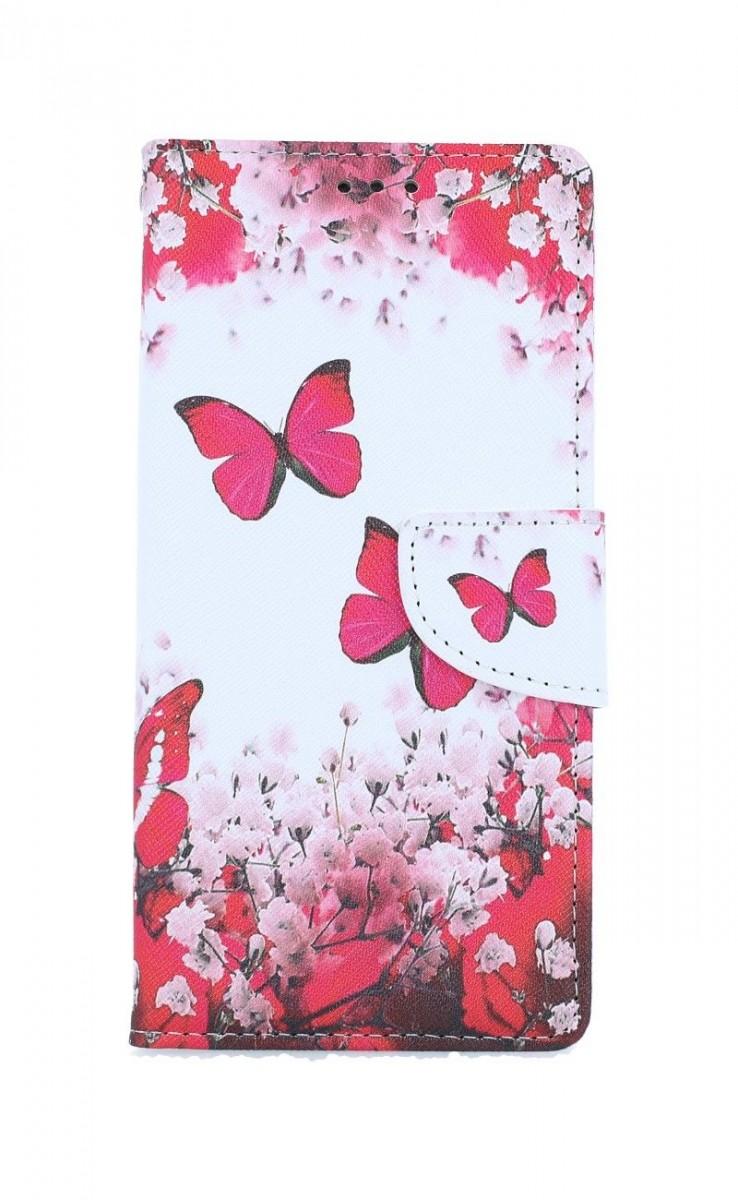 Knížkové pouzdro na Xiaomi Redmi Note 8T Růžoví motýlci