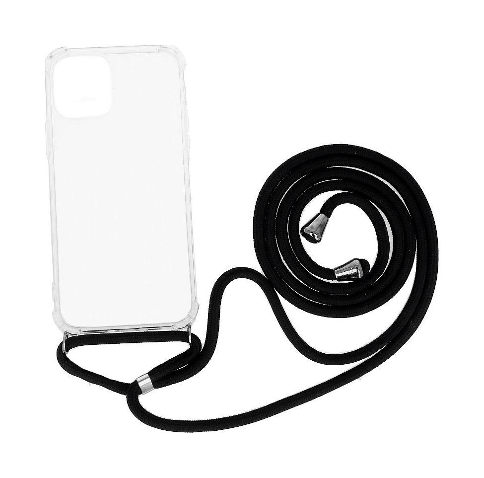 Zadní silikonový kryt na iPhone 12 s černou šňůrkou průhledný