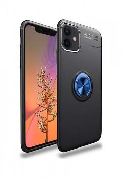 Zadní silikonový kryt na iPhone 12 černý s modrým prstenem