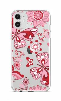 Zadní silikonový kryt na iPhone 12 Pink Butterfly