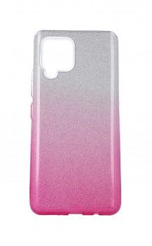 Zadní pevný kryt na Samsung A42 glitter stříbrno-růžový