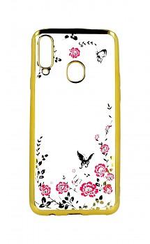 Zadní silikonový kryt na Samsung A20s zlatý s růžovými květy