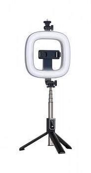 Bluetooth selfie tyč Ring Light P40D-1 s LED osvětlením černá