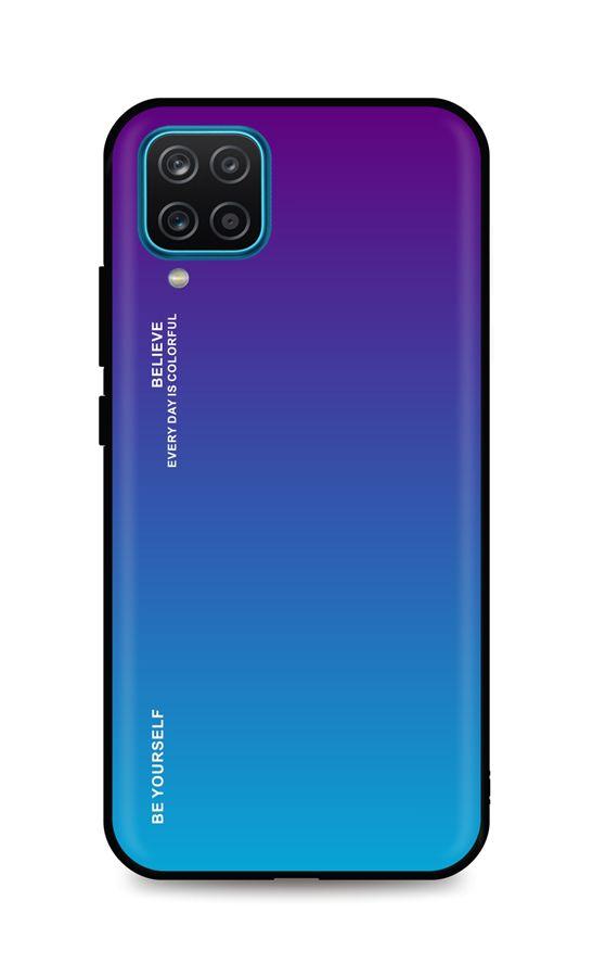 Zadní pevný kryt LUXURY na Samsung A12 duhový purpurový