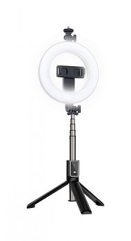Bluetooth selfie tyč Ring Light P40D-2 s LED osvětlením černá