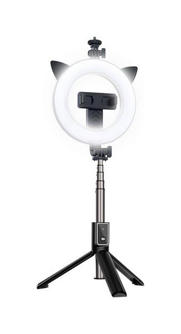 Bluetooth selfie tyč TopQ Ring Light P40D-3 s LED osvětlením černá 55727
