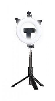 Bluetooth selfie tyč Ring Light P40D-3 s LED osvětlením černá