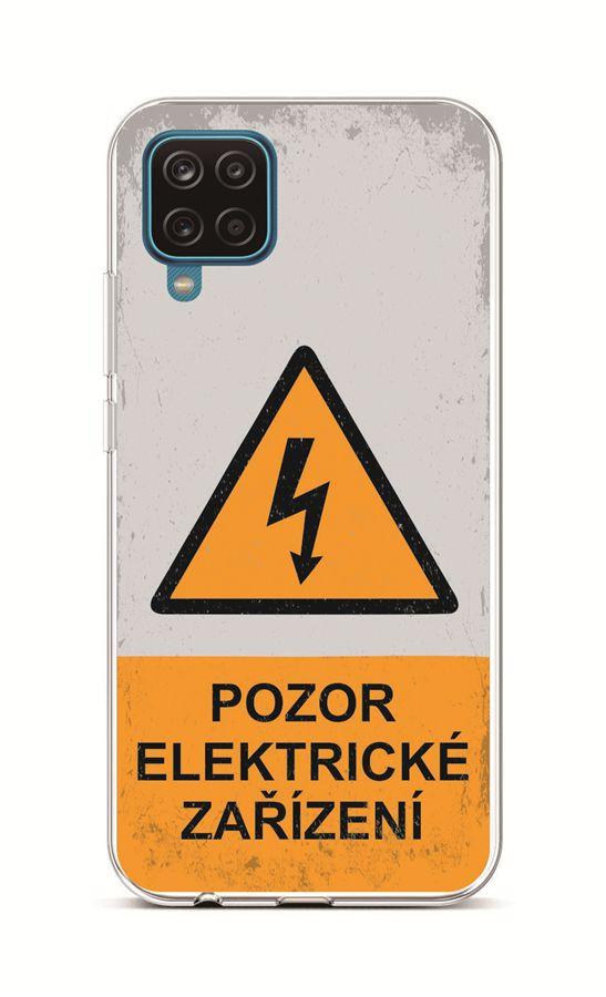 Zadní silikonový kryt na Samsung A12 Pozor elektrické zařízení