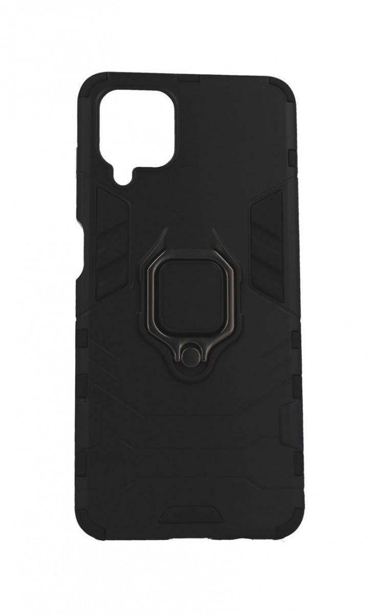 Ultra odolný zadní kryt na Samsung A12 černý s prstenem