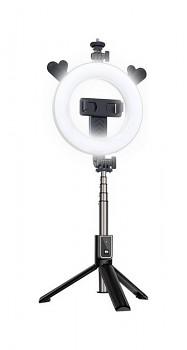 Bluetooth selfie tyč Ring Light P40D-5 s LED osvětlením černá