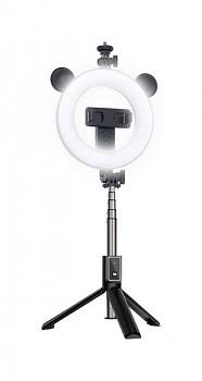 Bluetooth selfie tyč Ring Light P40D-4 s LED osvětlením černá