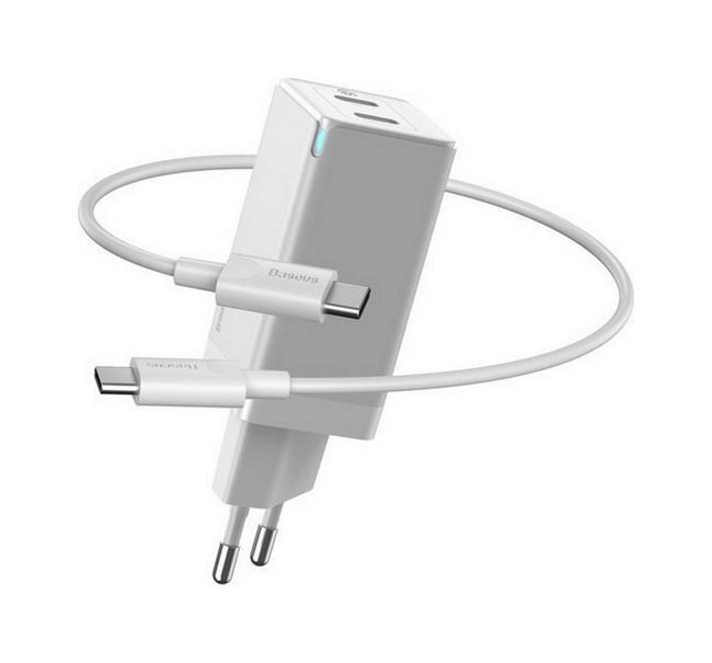 Rychlonabíječka Baseus GaN Mini 45W vč. datového kabelu USB-C (Type-C) na USB-C bílá 56447