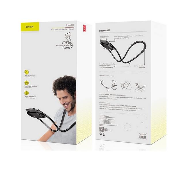 Univerzální držák na mobilní telefon za krk Baseus Lazy černý 56508
