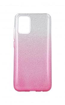 Zadní pevný kryt Forcell na Samsung A02s glitter stříbrno-růžový
