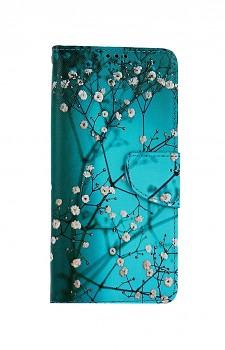Knížkové pouzdro na Samsung A12 Modré s květy