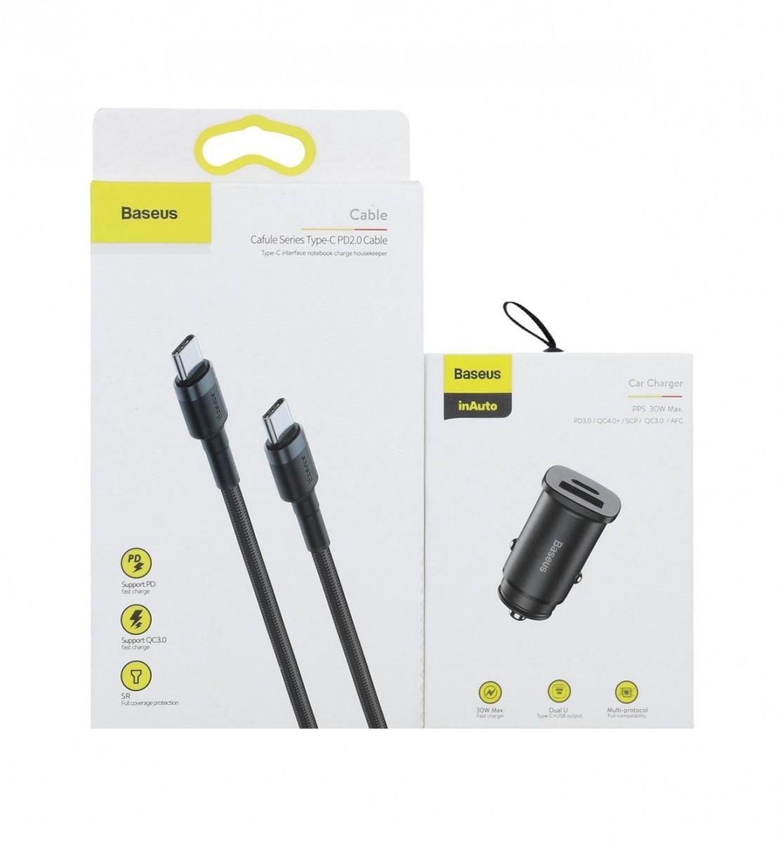 Rychlonabíječka do auta Baseus PPS 30W včetně USB-C datového kabelu černá 56826