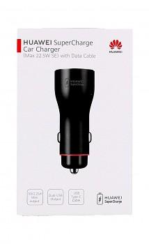 Originální rychlonabíječka do auta Huawei CP36 22,5W včetně USB-C datového kabelu Dual černá