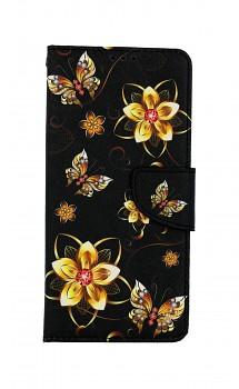 Knížkové pouzdro na Samsung A12 Zlaté květy