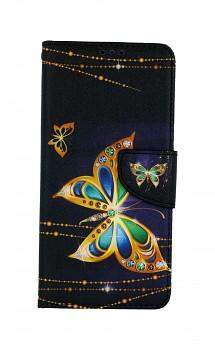 Knížkové pouzdro na Samsung A12 Zlatý motýl