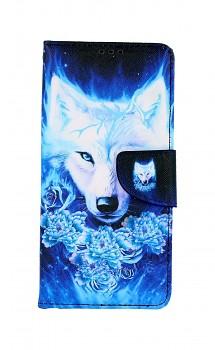 Knížkové pouzdro na Samsung A12 Tyrkysový vlk