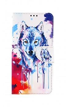 Knížkové pouzdro na Samsung A12 Kresba vlka