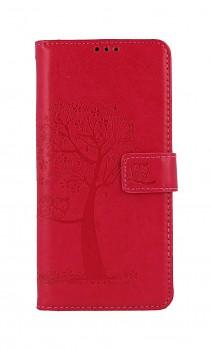 Knížkové pouzdro na Samsung A12 Tmavě růžový strom sovičky