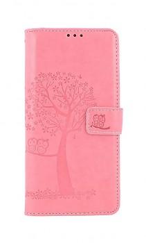Knížkové pouzdro na Samsung A12 Růžový strom sovičky