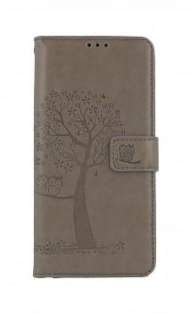 Knížkové pouzdro na Samsung A12 Šedý strom sovičky
