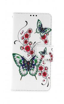 Knížkové pouzdro na Samsung A12 Motýlci s květinou