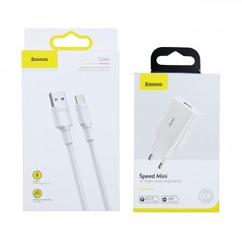 Rychlonabíječka Baseus Speed Mini 18W včetně datového kabelu USB-C bílá