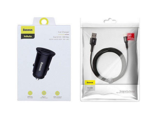 Rychlonabíječka do auta Baseus Circular 30W včetně USB-C datového kabelu černá 57250