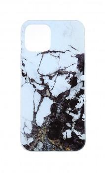 Zadní pevný kryt na iPhone 12 Pro Max Marble Glitter bílo-černý