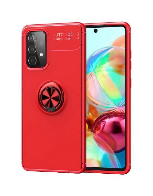 Zadní silikonový kryt na Samsung A52 červený s červeným prstenem