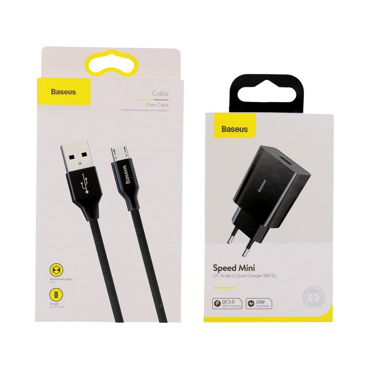 Rychlonabíječka Baseus Speed Mini 18W včetně datového kabelu microUSB černá 3A 57561