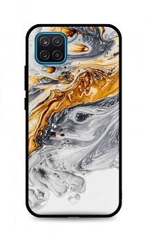 Zadní pevný kryt LUXURY na Samsung A12 Marble šedo-zlatý