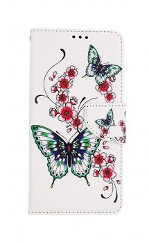 Knížkové pouzdro na Samsung A52 Motýlci s květinou