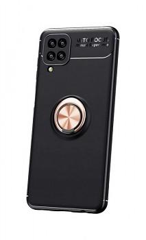 Zadní silikonový kryt na Samsung A12 černý s měděným prstenem