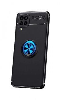 Zadní silikonový kryt na Samsung A12 černý s modrým prstenem