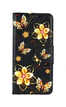Knížkové pouzdro na Samsung A52 Zlaté květy