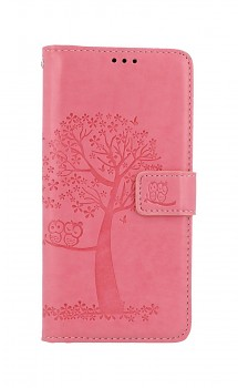 Knížkové pouzdro na Samsung A52 Růžový strom sovičky