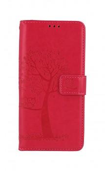Knížkové pouzdro na Samsung A52 Tmavě růžový strom sovičky