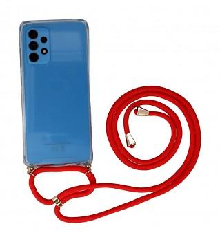 Zadní silikonový kryt na Samsung A52 s červenou šňůrkou průhledný