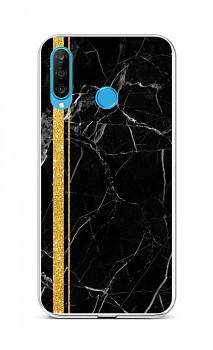 Zadní silikonový kryt STYLE na Huawei P30 Lite Mramor černo-zlatý