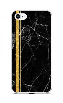 Zadní silikonový kryt STYLE na iPhone SE 2020 Mramor černo-zlatý