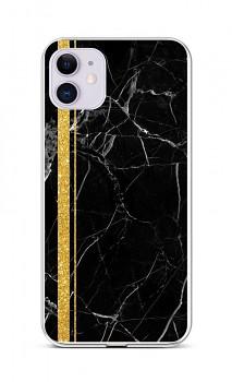 Zadní silikonový kryt STYLE na iPhone 11 Mramor černo-zlatý