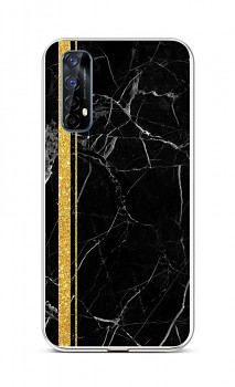 Zadní silikonový kryt STYLE na Realme 7 Mramor černo-zlatý