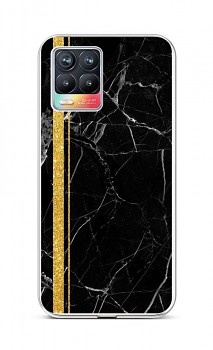 Zadní silikonový kryt STYLE na Realme 8 Mramor černo-zlatý