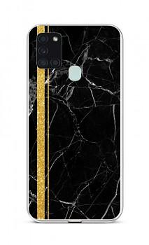 Zadní silikonový kryt STYLE na Samsung A21s Mramor černo-zlatý