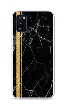 Zadní silikonový kryt STYLE na Samsung A41 Mramor černo-zlatý