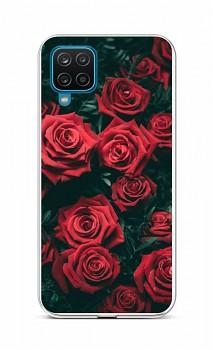 Zadní silikonový kryt na Samsung A12 Červené růžičky